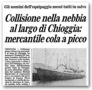 """Articolo del quotidiano """"Il Gazzettino"""" dopo l'affondamento"""